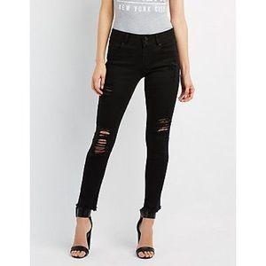 Refuge Black Distressed Skinny Jeans